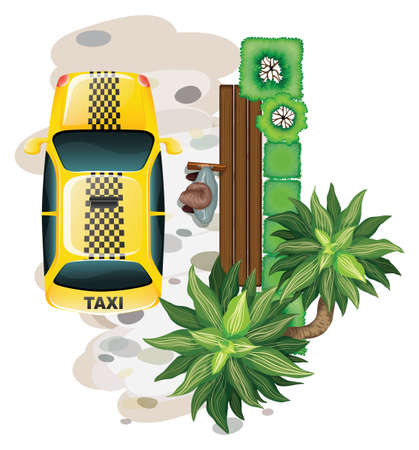 tree service pictures: Illustration of a man getting in a taxi