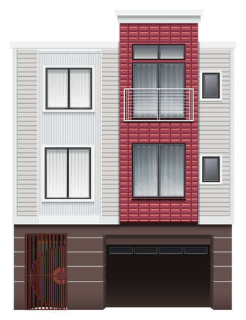 accomodation: Side view of a modern look house Illustration