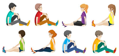 Illustration of people sitting Vector