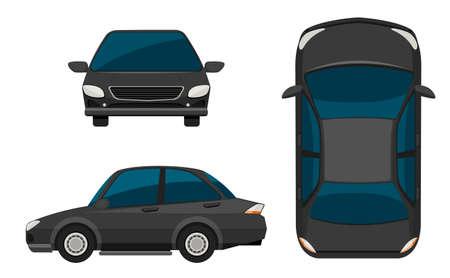 top down car: Illustration of a close up car