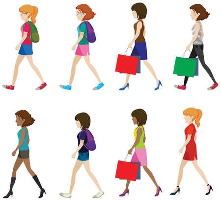 Illustration of woman walking Vector