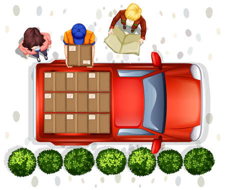 top down: Illustration of a delivery man loading the truck Illustration