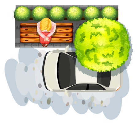 top down car: Illustration of a woman sitting on a bench