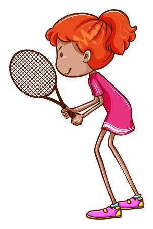Illustration of a woman playing tennis Vector