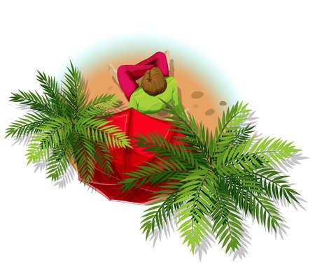 arbre vue dessus: Illustration d'un homme assis sous les palmiers Illustration