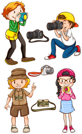 jobs cartoon: Illustration of many photographers taking picture