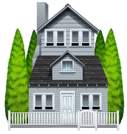 rooftop: A house with a fence on a white background