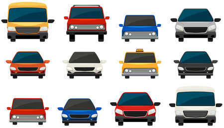 front view: Set of vehicles on a white background Illustration