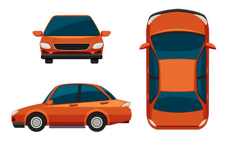 car front: Illustration of different view of a car Illustration