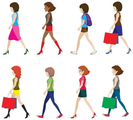 woman walk: Illustration of many women walking