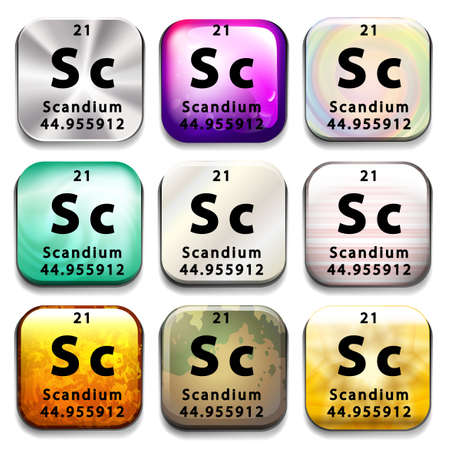abbreviation: Buttons showing Scandium and its abbreviation on a white background Illustration