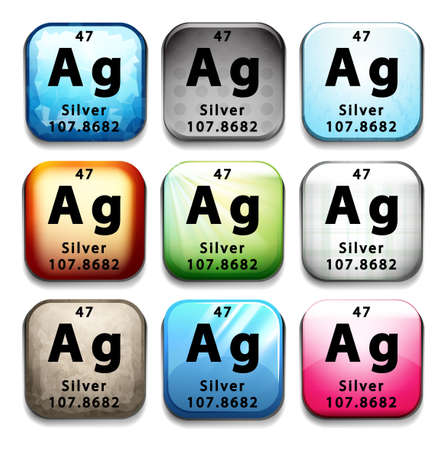 tabular: Buttons showing Silver and its abbreviation on a white background Illustration