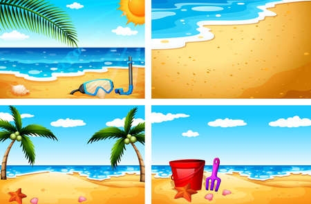 starfish beach: Four beautiful beach sceneries Illustration