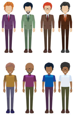 frontview: A group of faceless adults on a white background