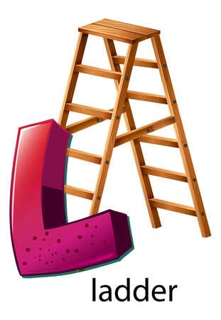 phonetic: Illustration of a letter L is for ladder Illustration