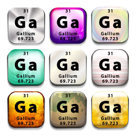 chemical element: Buttons showing Gallium and its abbreviation on a white background