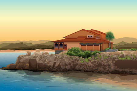 lake house: Illustration of a house by the lake