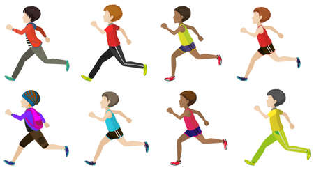 sideview: Faceless kids running on a white background