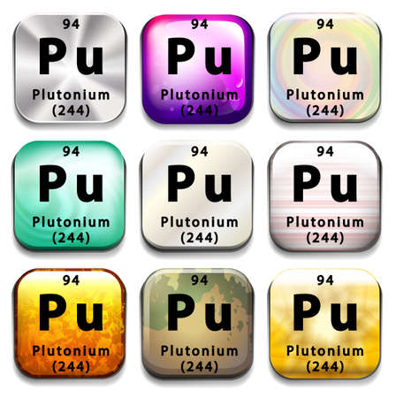 plutonium: Buttons showing Plutonium and its abbreviation on a white background