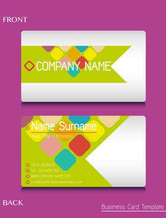 contact details: A business card template on a pink background