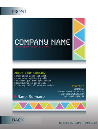 A front and back design of a card template Illustration