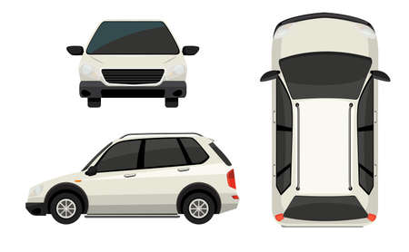top down car: Illustration of different view of a SUV
