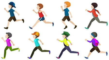 child running: Illustration of many boys running