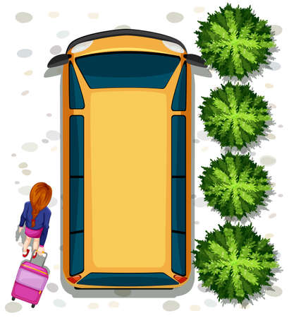 top angle: Illustration of a woman getting into a van