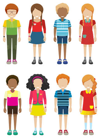 Illustration of many children standing Vector