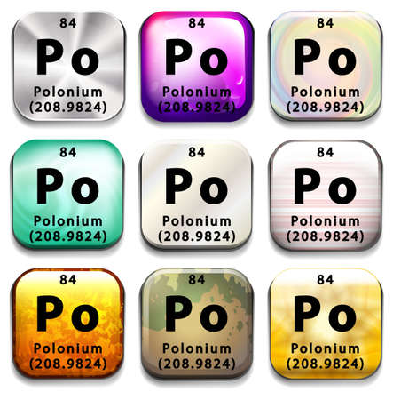 po: Buttons showing Polonium and its abbreviation on a white background