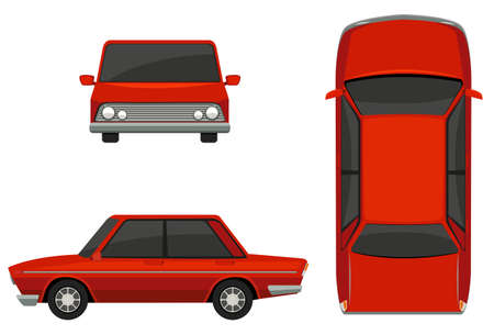 top down car: Illustration of different view of a classic car Illustration