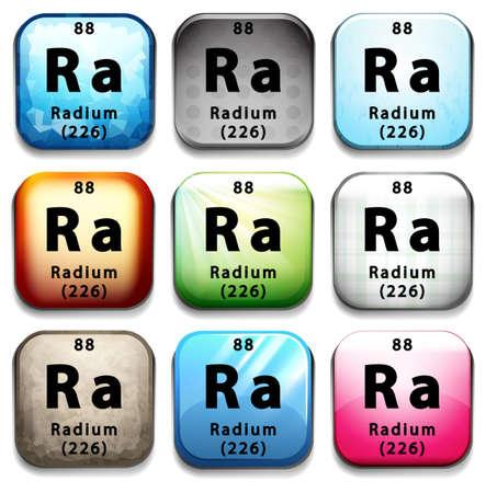 Illustration of a  element symbol of radium Illustration