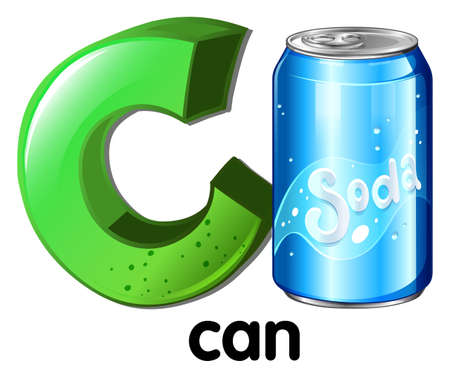 seltzer: A letter C for can on a white background Illustration