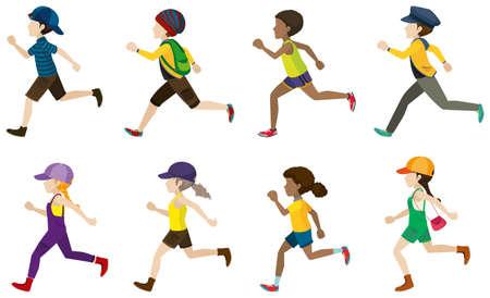 children running: Illustration of many children running