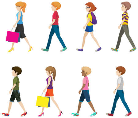 people: Illustration of many people walking