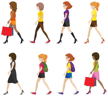 Faceless ladies walking in one direction on a white background Vector