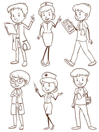 medics: A plain drawing of a group of nurses and doctors on a white background