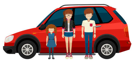 Illustration of a family in front of a SUV Vector