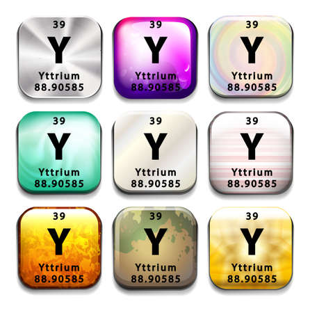 A periodic table showing the Yttrium on a white background Reklamní fotografie - 35403064