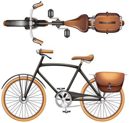 cycle race: A topview of a vintage vehicle on a white background Illustration