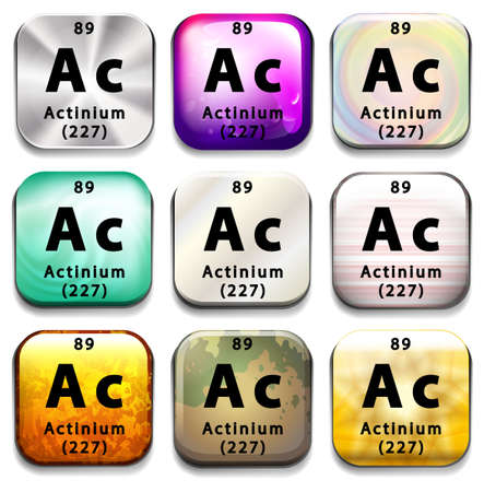 tabular: A periodic table showing Actinium on a white background