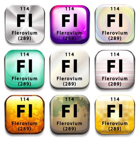 graphic flerovium: A periodic table showing Flerovium on a white background