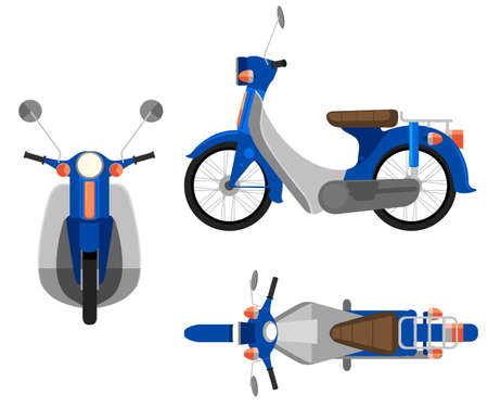 motorised: A motorcycle on a white background Illustration