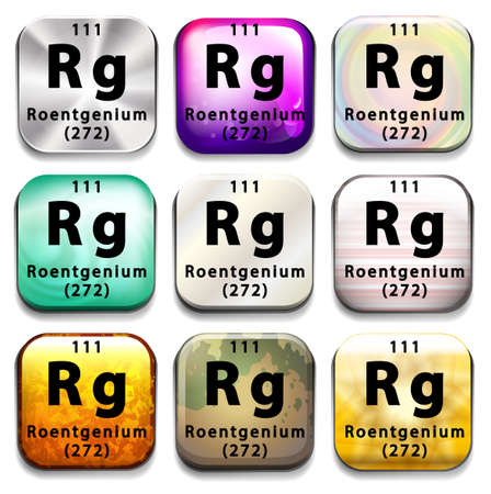 atomic number: A periodic table showing Roentgenium on a white background Illustration