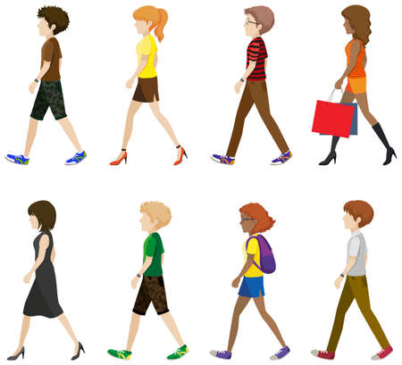 paperbag: Faceless boys and girls walking on a white background