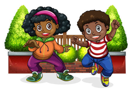 Young Black people dancing on a white background Illustration