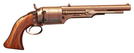 propellant: A vintage gun on a white background Illustration