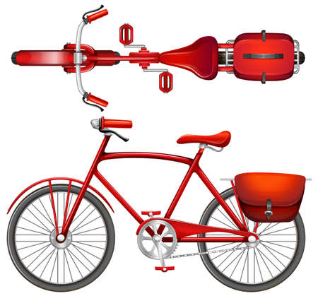 spoked: A red bicycle on a white background Illustration