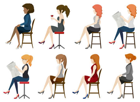 sideview: Faceless girls sitting down on a white background