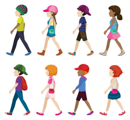 face side: Faceless young girls and boys walking on a white background